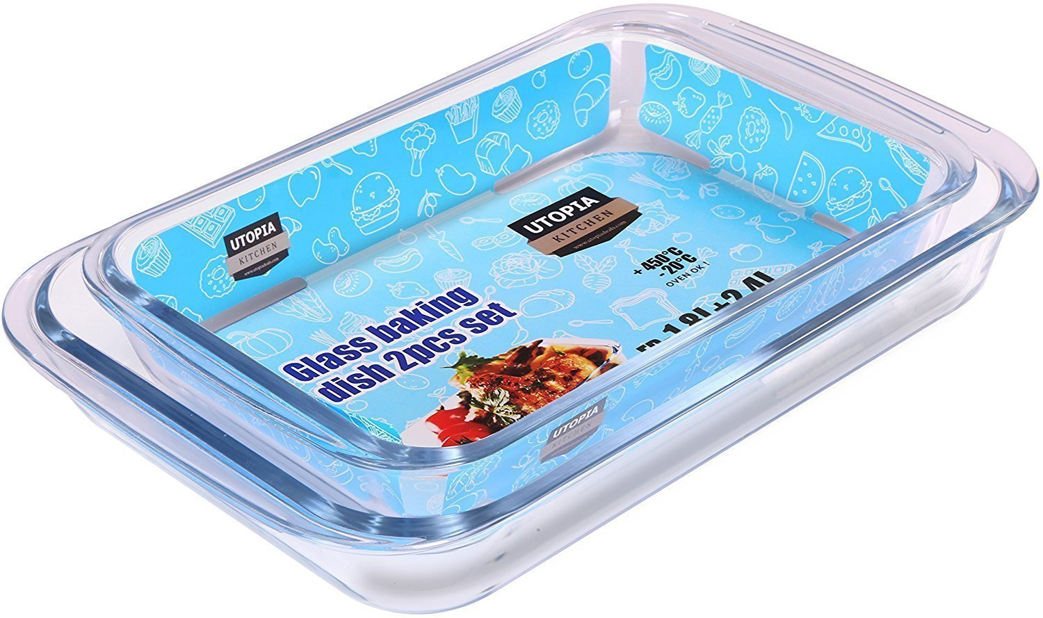 Borosilicate Glass Oblong Baking Dishes 2-Pack Glass Bakeware - 1.8L (11.6 x 7.1 x 2 Inch) & 2.4L (13.5 x 8.2 x 2 Inch) - Dishwasher Safe & Oven-Friendly- By Utopia Kitchen UK0260