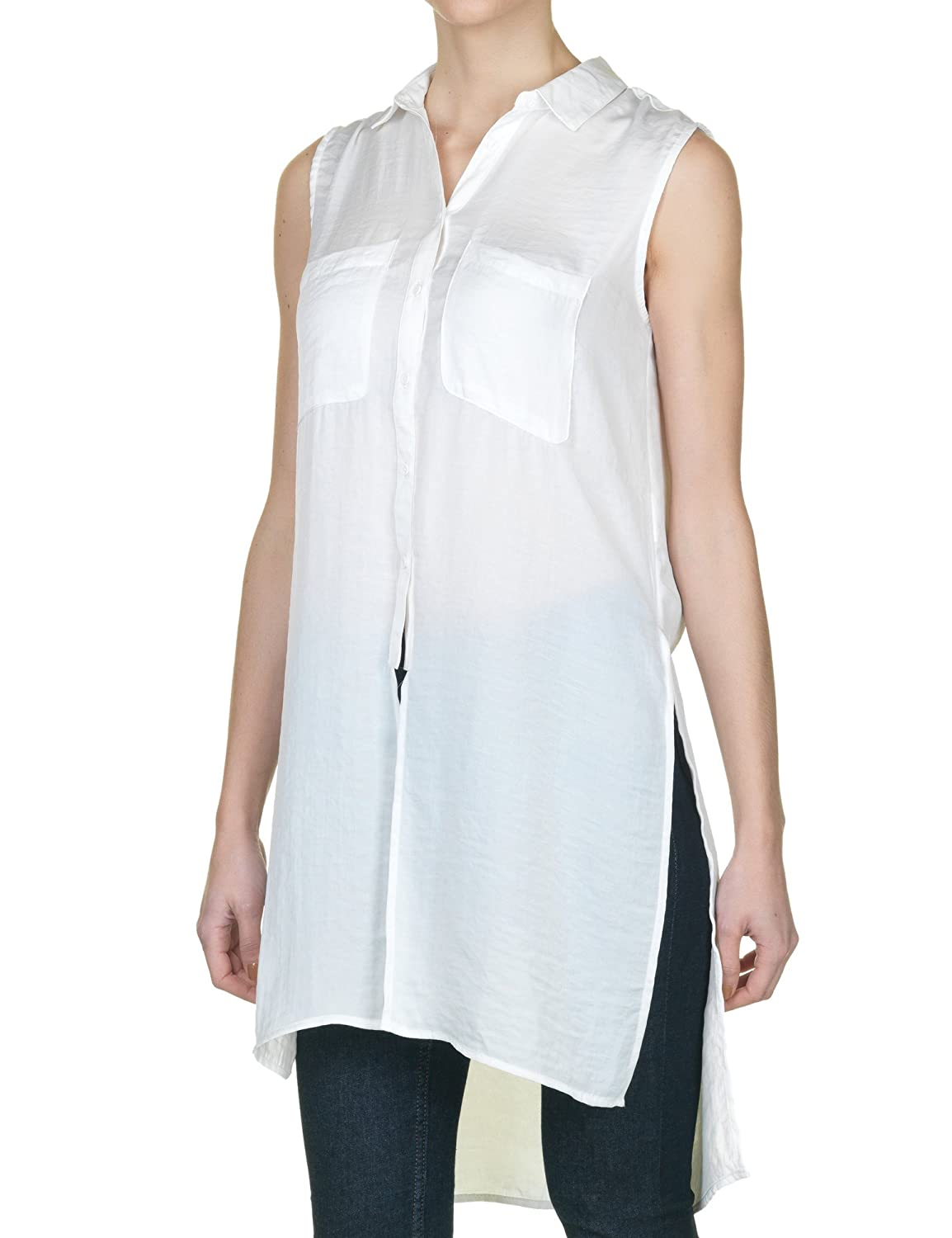 Sublevel Women's White Shirt Semi Transparent 100% Polyester