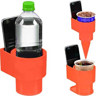 STAND-Bi Car Cup Holder Expander – Holds Phone, Drink, Water Bottle for Car, Beach, Boat or Desk - Orange: Automotive