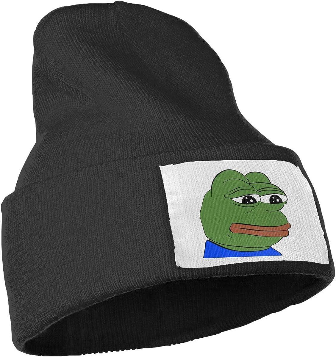 Pepe The Frog Logo Beanie Hat Winter Solid Warm Knit Unisex Ski Skull Cap