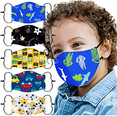 Kids Reusable Face Bandanas Cute Cartoon Breathable Cloth Face Covering with Adjustable Ear Loops for Children