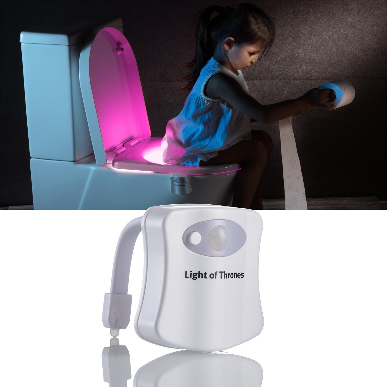 Toilet Night Light Motion Activated - Light Detection - Inside Toilet Bowl Led Light - Bathroom Lighting, Potty Training Light Up, Sensor Led Light 8 Colors Changing (White)
