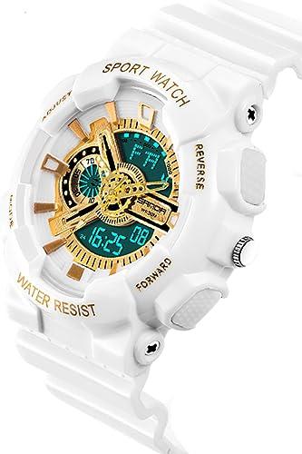 Reloj deportivo para niños, moderno, casual, resistente al agua, analógico, LED, digital, electrónico, color oro blanco: Amazon.es: Relojes