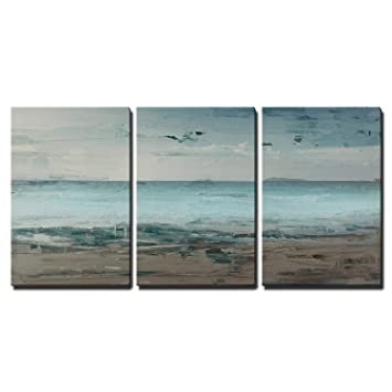 wall26 3 Piece Canvas Wall Art - Canvas Wall Art - Abstract Seascape with  Beach and Sea Horizon - Modern Home Decor Stretched and Framed Ready to  Hang
