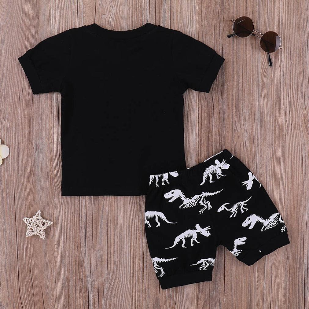 TiTCool Kids Boy Summer Outfits 2PCS Set,Fossil Dinosaur Print Short Sleeve Shirts+Short Size 2-7 Years Old White Yellow