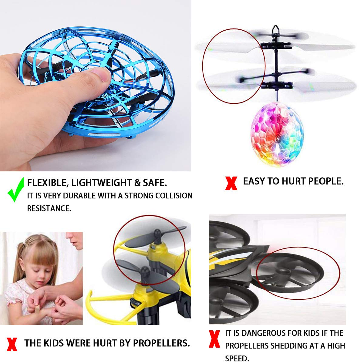 Hand Operated Drones for Kids or Adult, Mini Drone Flying Ball Toy, Scoot UFO Hand Free Infrared Sensing Drone Toys for Boys and Girls Holiday and Birthday Gifts by Nice Dream (Image #3)
