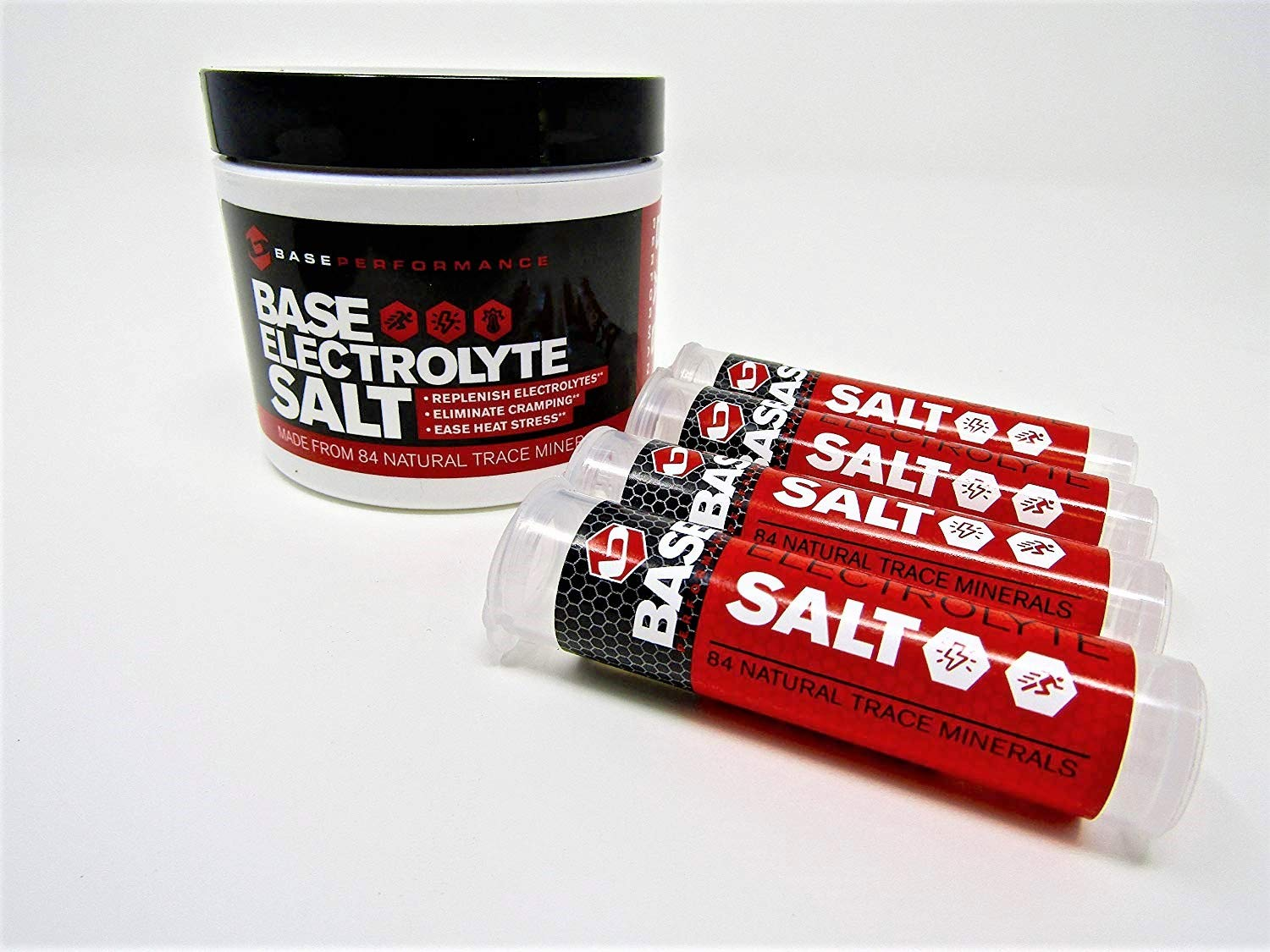 BASE Performance electrolyte salt | 226 Servings tub with 4 refillable race vials. Prevent cramping and gastrointestinal distress using an all natural formula rapidly absorbed.