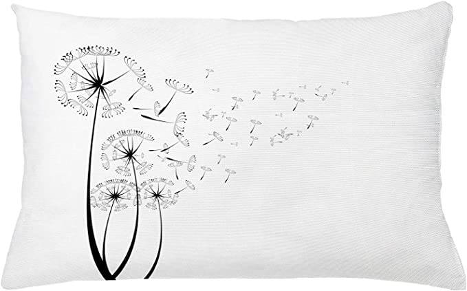 Amazon Com Ambesonne Dandelion Throw Pillow Cushion Cover Monochrome Dandelions Blowing In The Wind Fluffy Flower Romance Theme Decorative Square Accent Pillow Case 26 X 16 White Black Home Kitchen