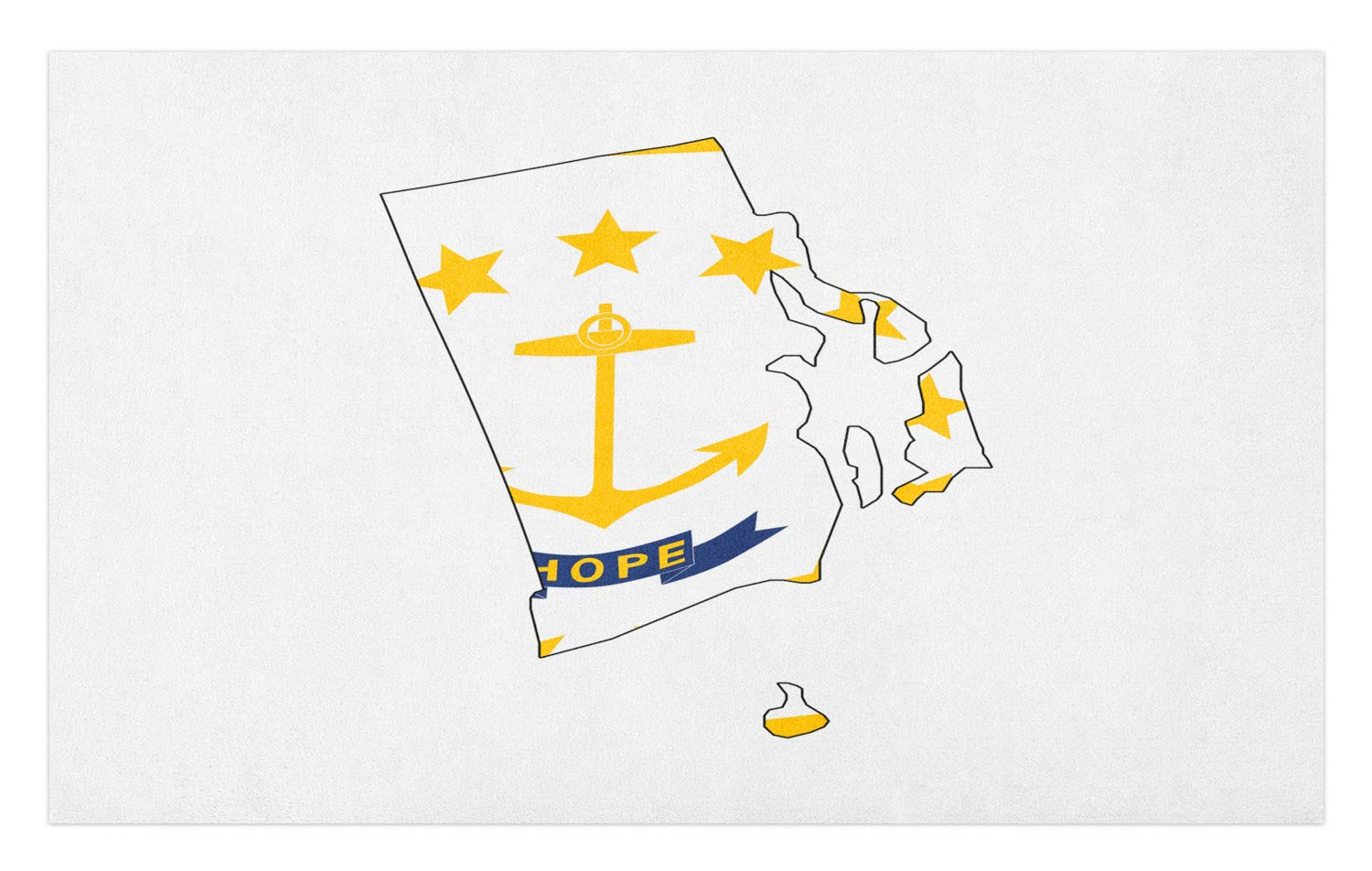 Lunarable Rhode Island Doormat, The Ocean State Map with Flag Hope Anchor and Stars, Decorative Polyester Floor Mat with Non-Skid Backing, 30 W X 18 L Inches, Cobalt Blue Earth Yellow and White