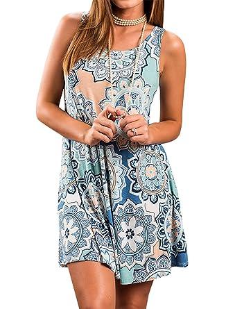 dda6c08fbc47 The Aron ONE Sommerkleider Damen Casual Ärmellos T-Shirt Kleid Kurzen  Blumen Bedrucktes Strandkleider mit Taschen  Amazon.de  Bekleidung