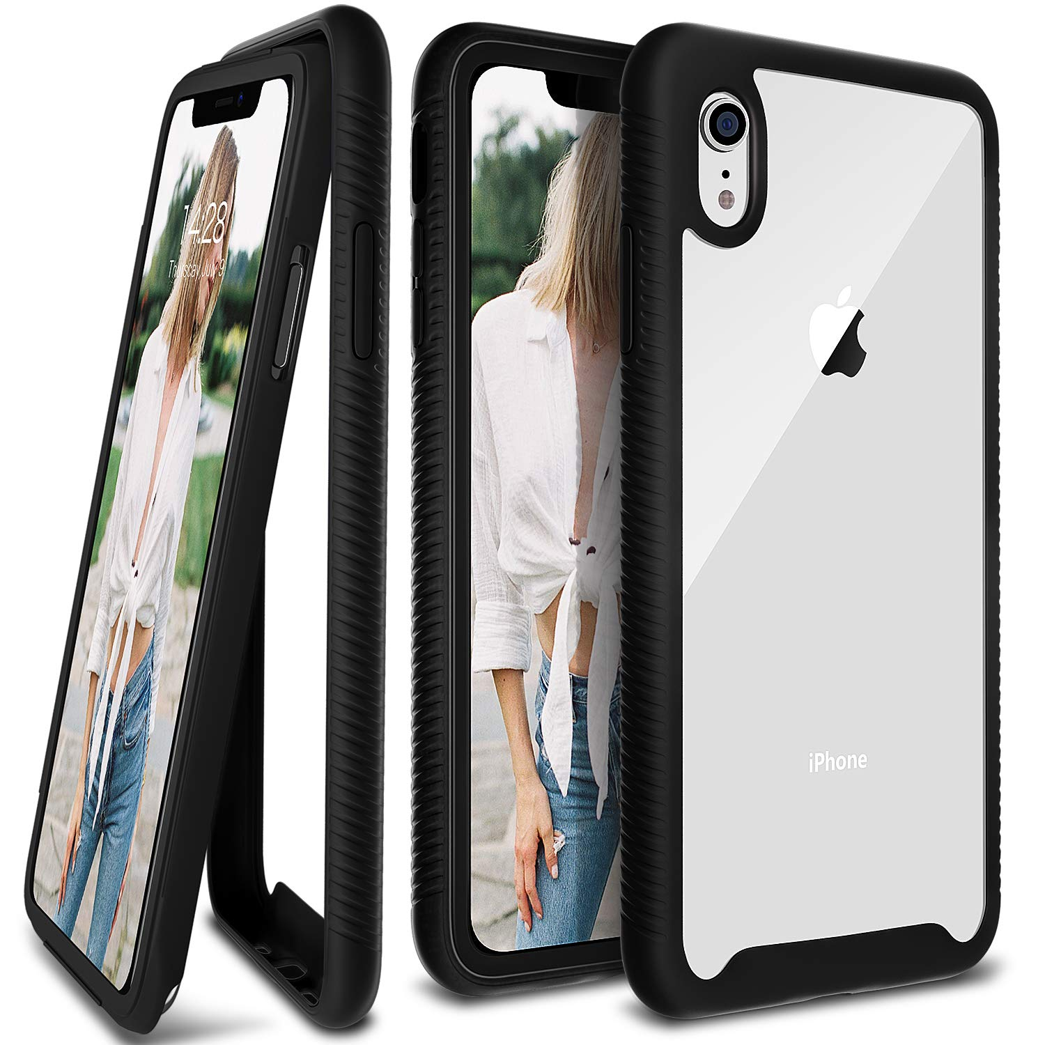 iPhone Xr Case, Ansiwee Scratch Resistant 360 Full Body Phone Case Hard Clear Back Shock Drop Proof Impact Resist Extreme Durable Protective Cover ...