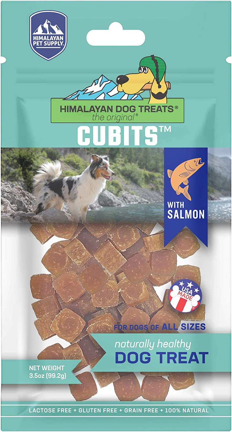 Himalayan Pet Supply Cubits with Salmon | Natural Training Treat | Gluten - Lactose - Grain Free | 3.5 oz per Pouch (853012004845)