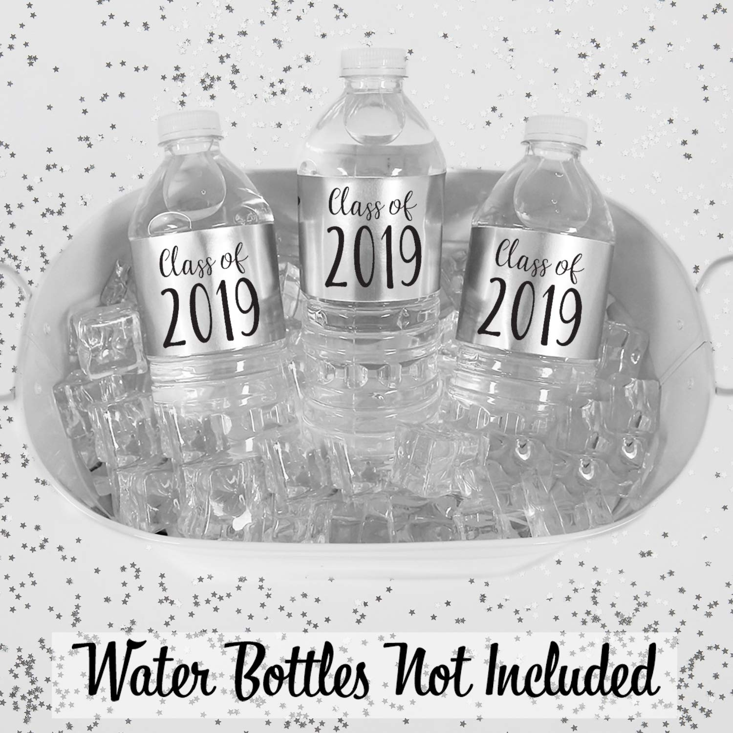 DISTINCTIVS Silver 24 Stickers Class of 2019 Metallic Foil Water Bottle Labels
