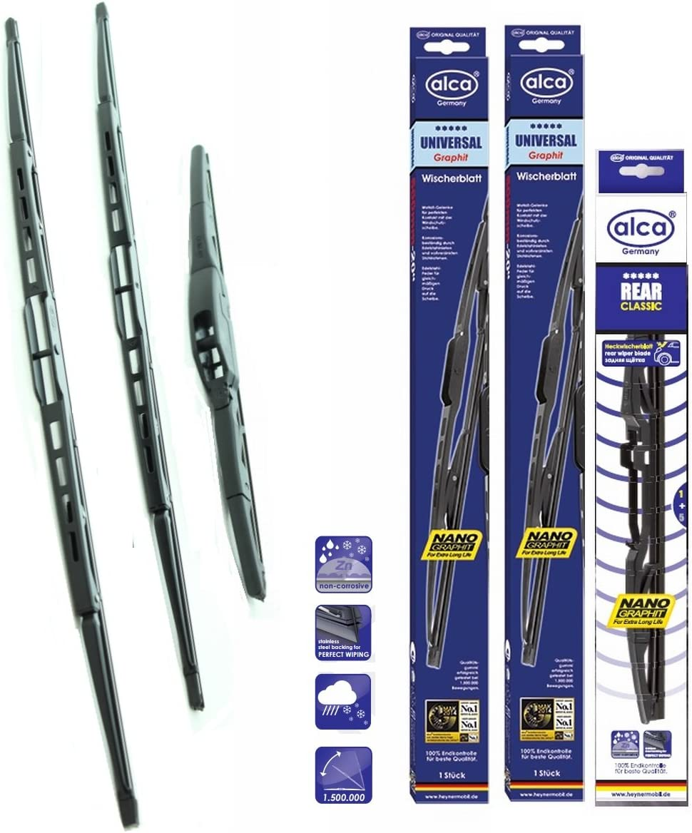 3 x Blades JAZZ Hatchback Mar 2002 to Jul 2008 Windscreen Wiper Blade Set Front and Rear Blades