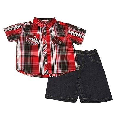 ff41fac55af Amazon.com  Quad Since 1976 Seven Little Boys Red Black Plaid Short ...