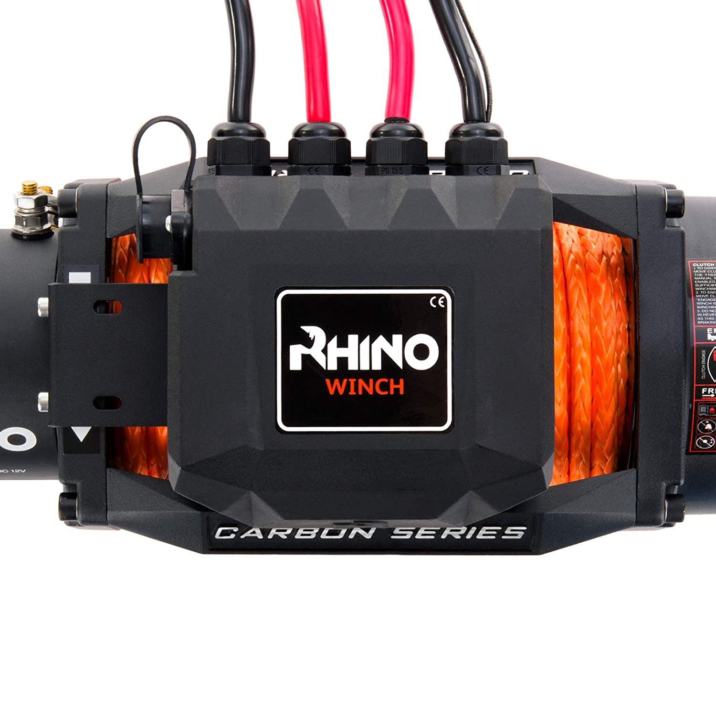 12 V kabellos Carbon-Serie st/ärker als Stahl synthetisches Dyneema-Seil 6125 kg Rhino Elektrische Seilwinde