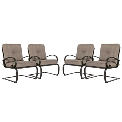 Cloud Mountain Set Of 4 Patio Club Chairs Outdoor Dining Chairs Wrought Iron  Set Garden Dining
