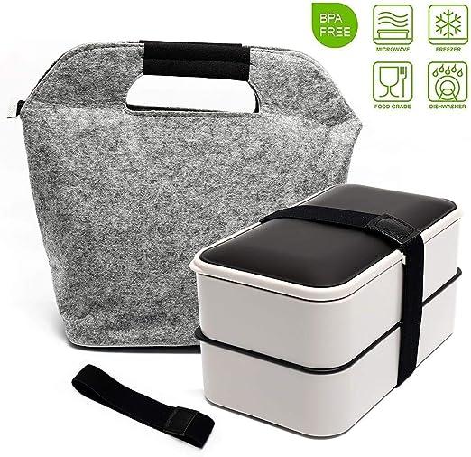 Amazon.com: Caja de almuerzo Bento, caja de 2 contenedores ...
