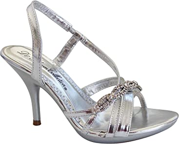 d830b780d2fe De Blossom Collection Lin-21 Ankle Strappy Rhinestone Stiletto high Heel  Dress Sandals
