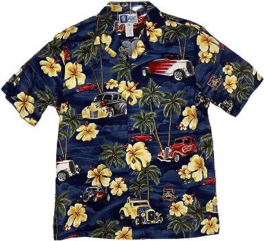 Made in Hawaii Hawaiian Aloha Shirt Scenic Route 66 Blue