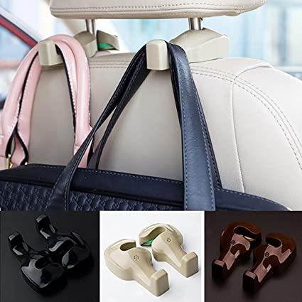 Black Spotest Car Hooks headrest Hangers Unique Bargains Pair Gray Plastic Car Seat Headest Hanger Bags Oranizer Hook Holder Hang Purse or Grocery Bags