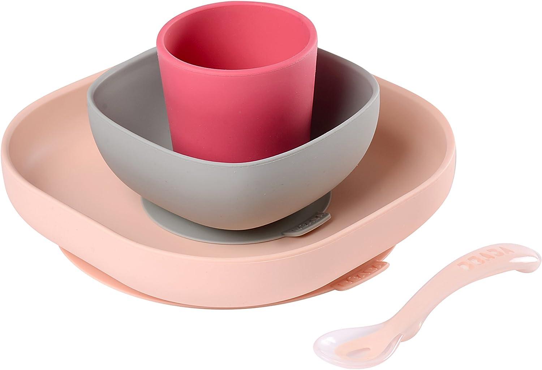 Bleu GOLDGE Set Vaisselle Silicone Pour B/éb/é et Enfants,Comprenant Assiette /à Ventouse Forme de Vache Bavoir,Pliable Cuill/ères et Pliable Fourchettes