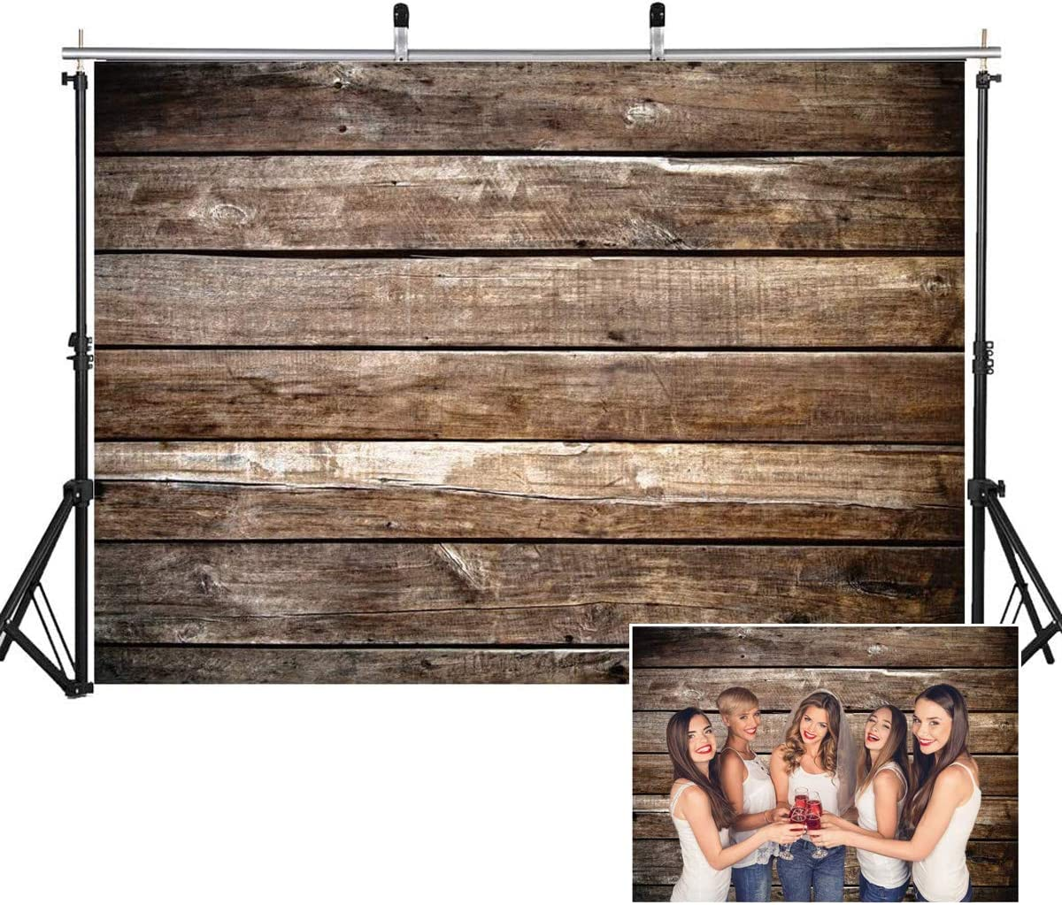 AIIKES 7x5FT Wooden Backdrops for Photography Wood Floor Backdrop Brown Wood Backdrops Newborn Baby Photo Backgrounds for Photography Studio Vinyl Photo Backdrop Home Decoration 11-425