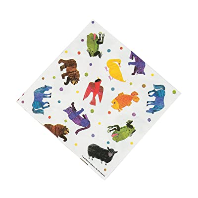 Fun Express - Brown Bear Lunch Napkins for Birthday - Party Supplies - Print Tableware - Print Napkins - Birthday - 16 Pieces: Toys & Games