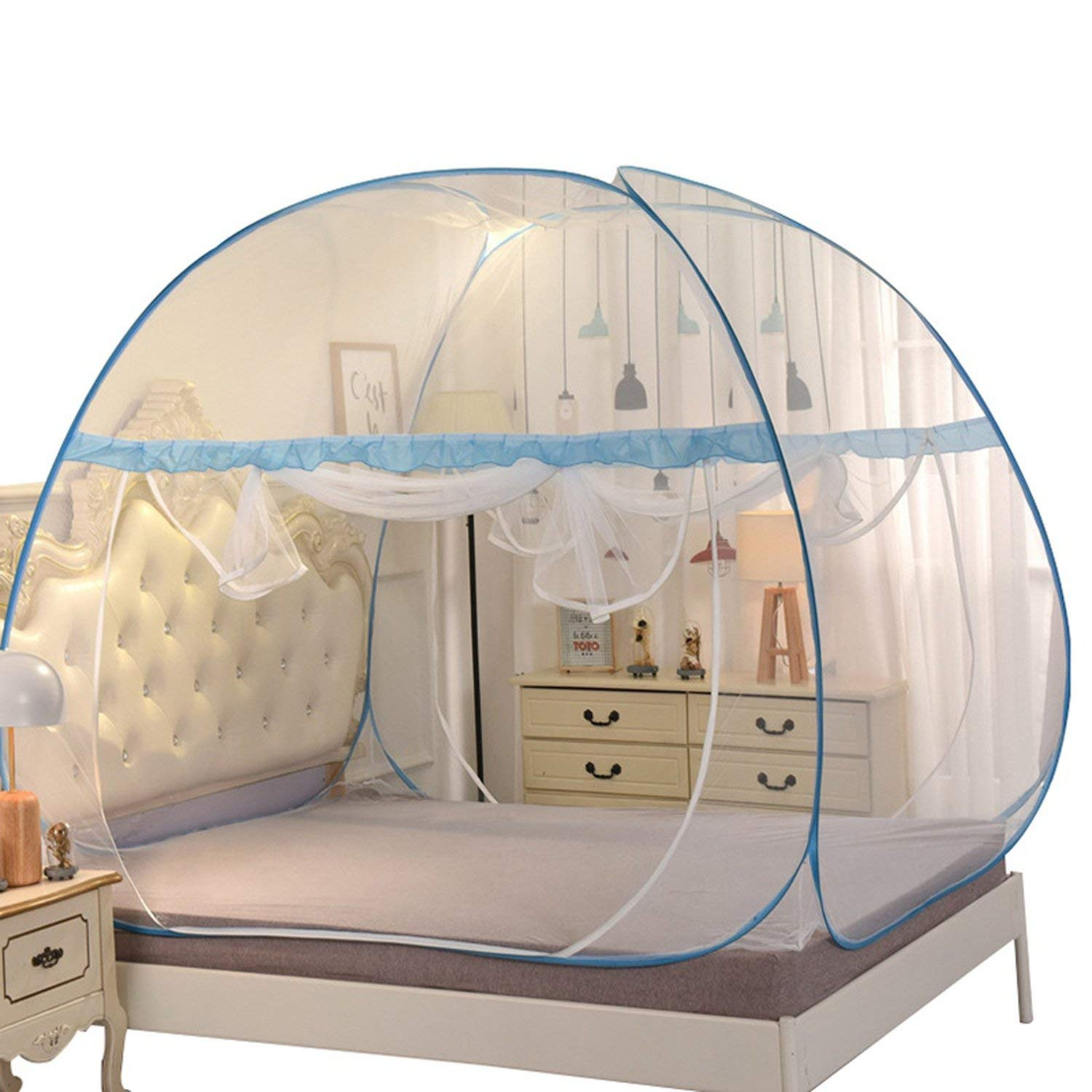 From Zero mosquito net Portable Mongolian Installation Double Door Mosquito Nets Folding Outdoor Camping Mosquito Nets,Blue,S