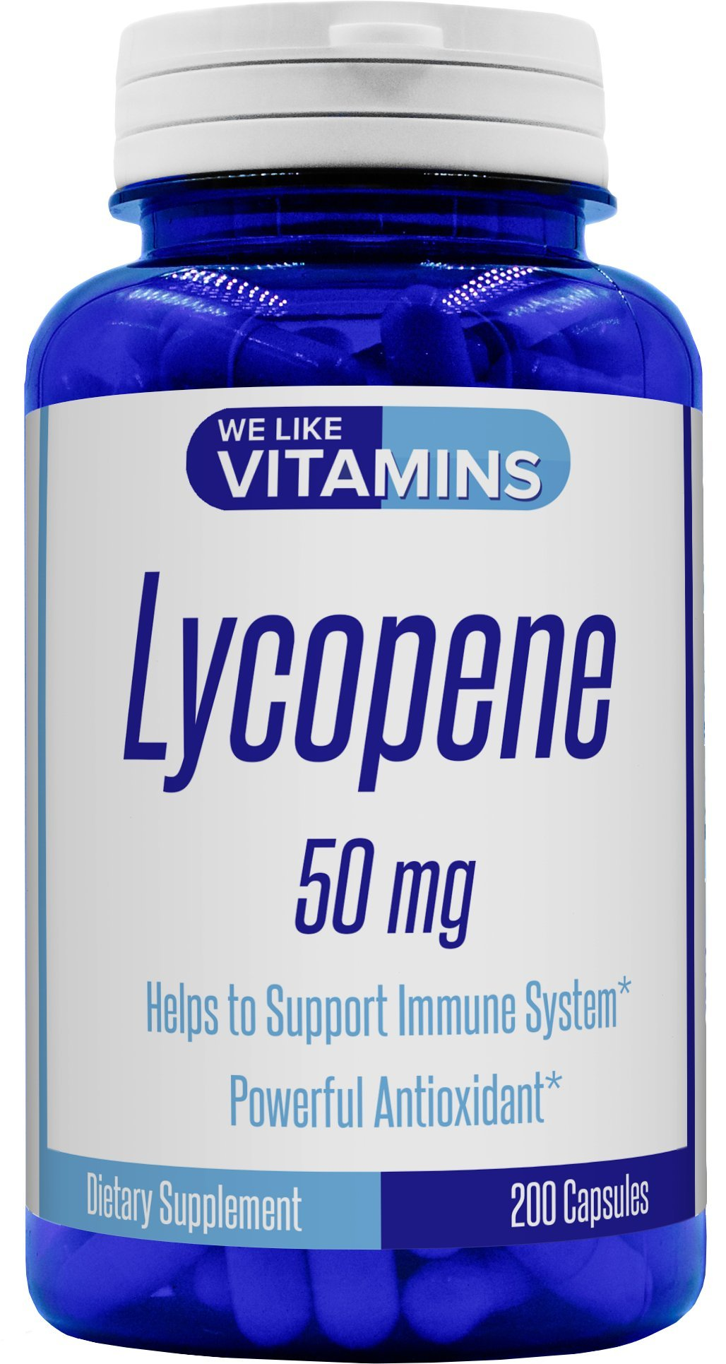 Lycopene 50mg 200 Capsules (Non GMO & Gluten Free) - Lycopene Supplement - Super Antioxidant which Helps Support Immune System and Prostate Health by We Like Vitamins