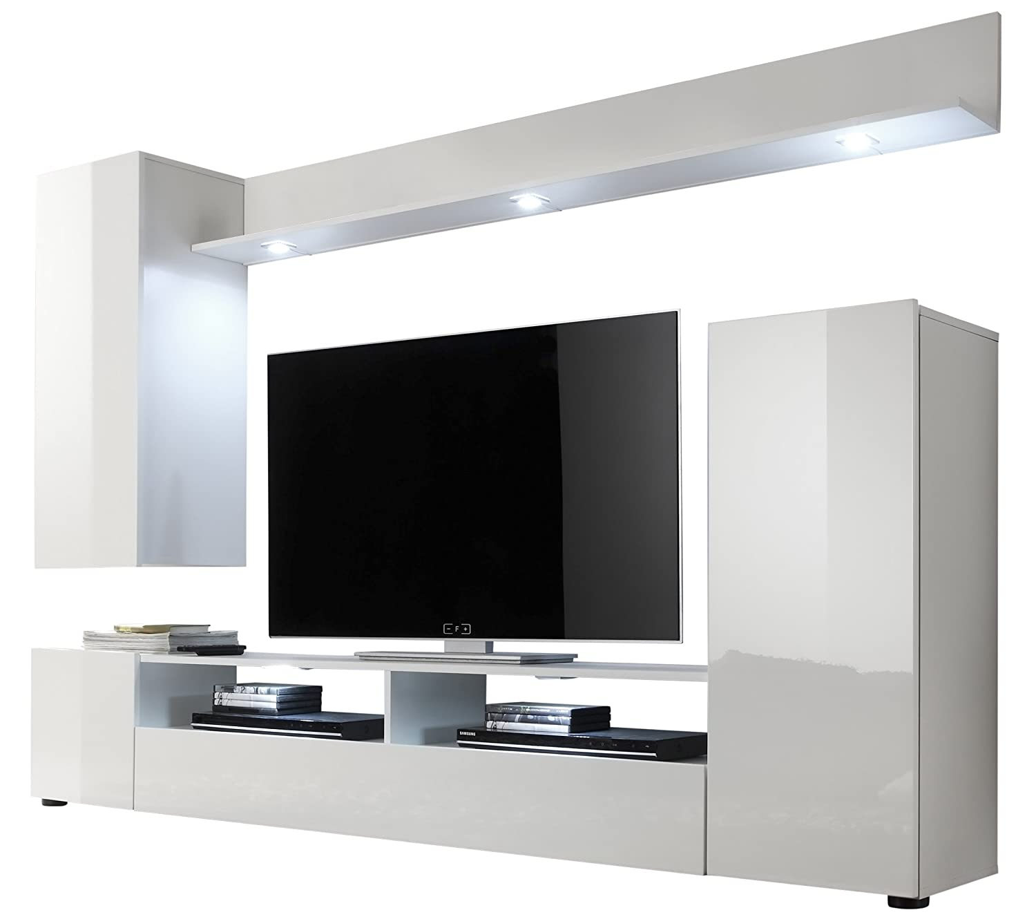 Charming Furnline Dos High Gloss TV Stand Wall Unit Living Room Furniture Set, White Part 12