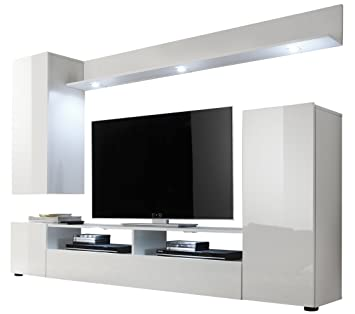 Trendteam Wohnzimmer Anbauwand Wohnwand DOS, 208 X 165 X 33 Cm In Weiß  Hochglanz Ohne