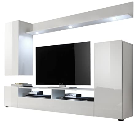 Furnline Dos High Gloss TV Stand Wall Unit Living Room Furniture Set - White gloss wall units living room