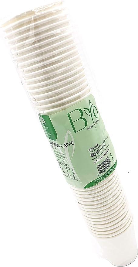 Bio 100 Vasos de café 80 ml Ø 5,7 Alt. 6 cm. Cartón y PLA ...