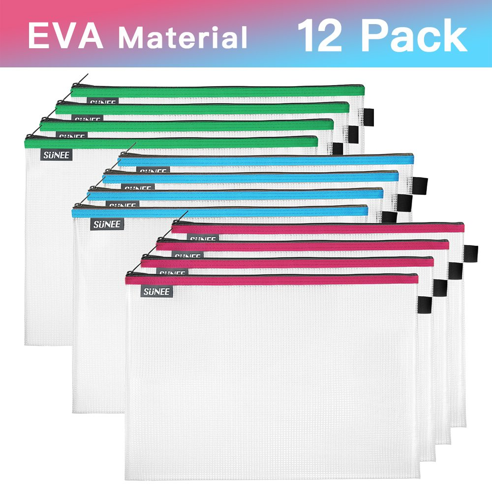 File Bags Zipper Pouch Large A4 Size, SUNEE Document Storage Bag Pouch Zip File Folder Holder EVA Material for Office School Family Supplies Business Travel 3 Colors (12 Pack)
