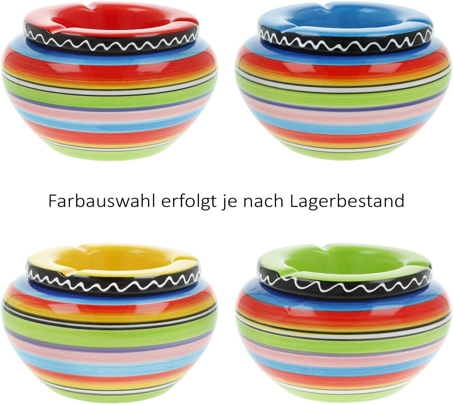 com-four/® 2X Windaschenbecher aus feinster Dolomit Keramik bunt gestreift Auswahl variiert /Ø 14 x H 8 cm 02 St/ück - /Ø 14 cm bunt
