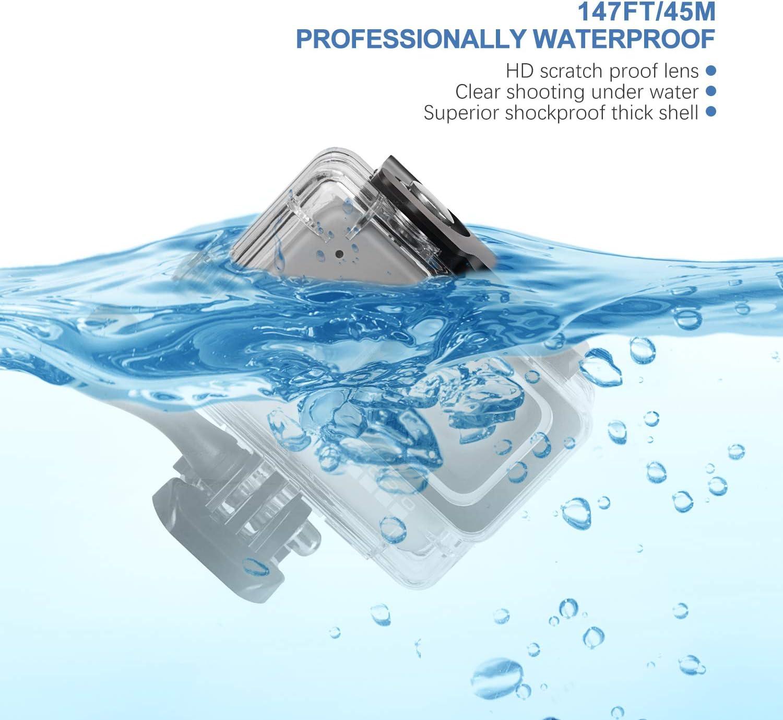 Deyard Wasserdichtes Geh/äuse f/ür GoPro Hero 7 Wei/ß GoPro Hero 7 Silber mit Schnellwechselhalterung und R/ändelschraube 45 Meter Unterwasserfotografie