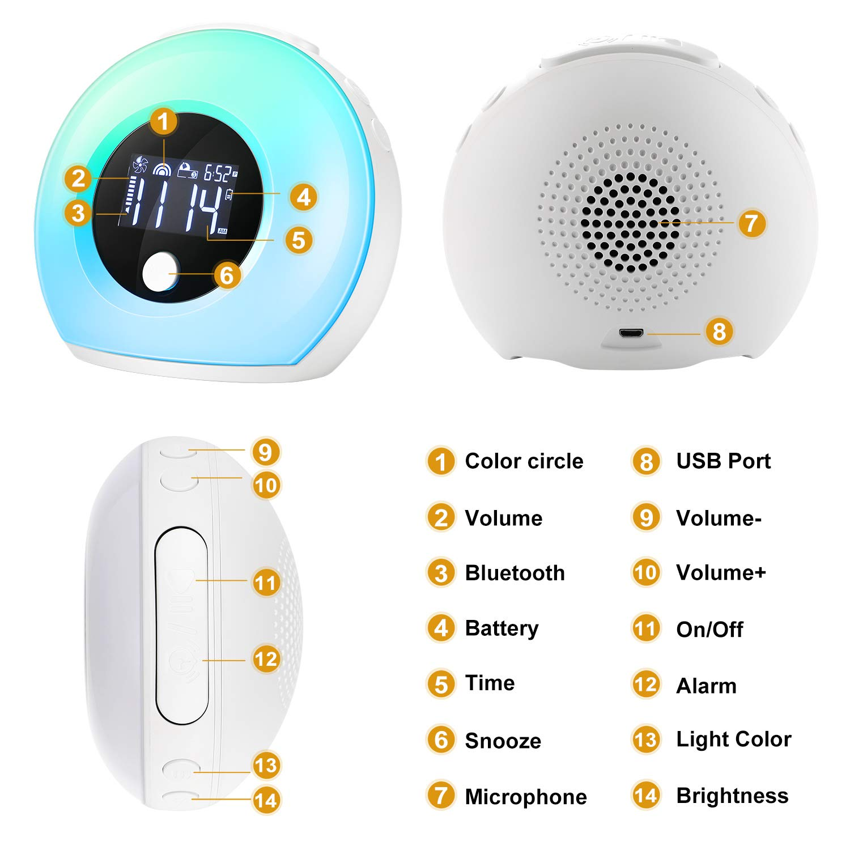 EXTSUD Sveglia Digitale Wake Up Light Ricaricabile Dimmerabile da Comodino con 5 Colori Luce Notturna 4 Luminosit/à Snooze Altoparlante Bluetooth Lampada Sveglia per Stanza Bambini Adulti Regalo Amici