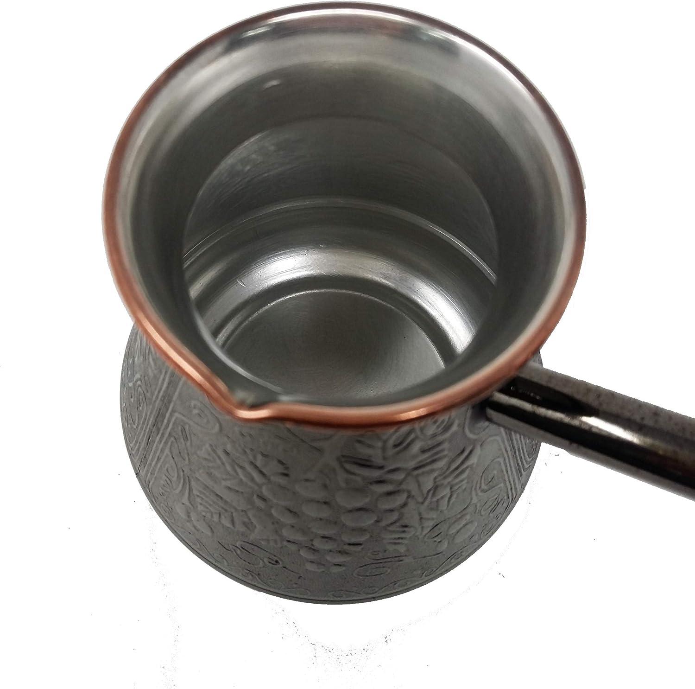 Madacha Pot /à caf/é//Cafeti/ère Turka Fabriqu/ée en Russie Utilisable sur Tous Feux sauf Induction 450 ML Cuivre /étam/é