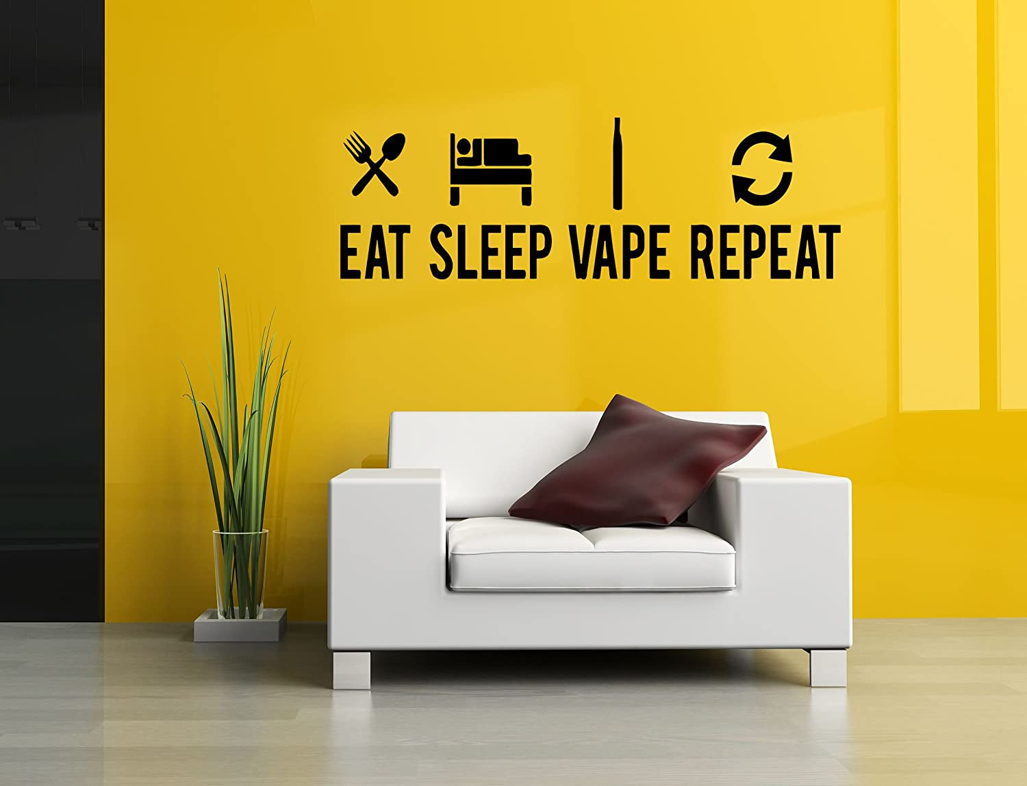 Amazon com wall vinyl sticker decal vaporizer eat sleep vape repeat pen store shop smoke e cigarettes liquid coil indoor outdoor sign logo sa751 home
