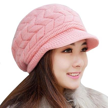 84d1183b03718e Amazon.com: Sothread Women Winter Baggy Warm Hat Rabbit Fur Knitted Ski  Beanie Skull Caps with Visor (Pink): Arts, Crafts & Sewing