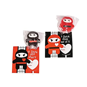 Fun Express - Valentine Ninja Suckers With Cards for ...