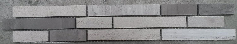 Mosaik Bord/üre 5x30 cm Naturstein Fliesen Yawood Grau Creme Mix Bad Dusche B031