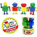 Snaptoys Bucket of Bots Robot Mix and Match Snap Together Building Play Set