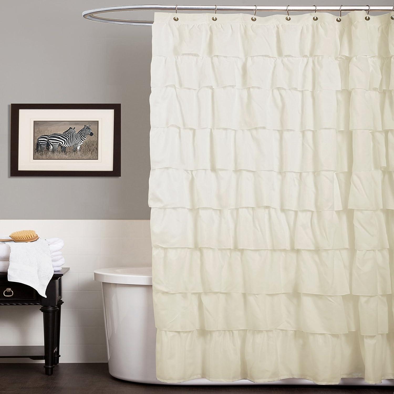 Lush Decor Ruffle Shower Curtain, 72 inch x 72 inch, Ivory