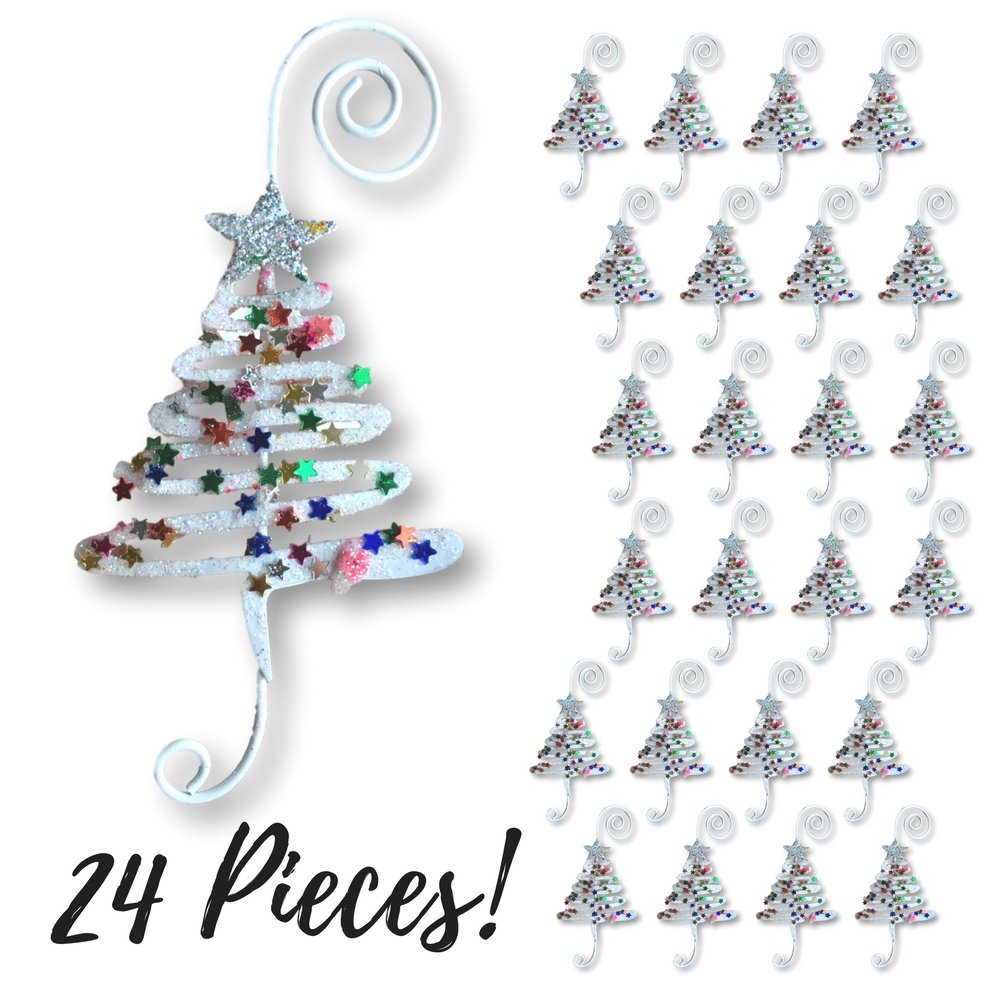Christmas Ornament Hooks - Set of 24 Whimsical Christmas Tree Ornament Hangers - Adorned with Fun Confetti Like Glitter - Christmas Ornament Display