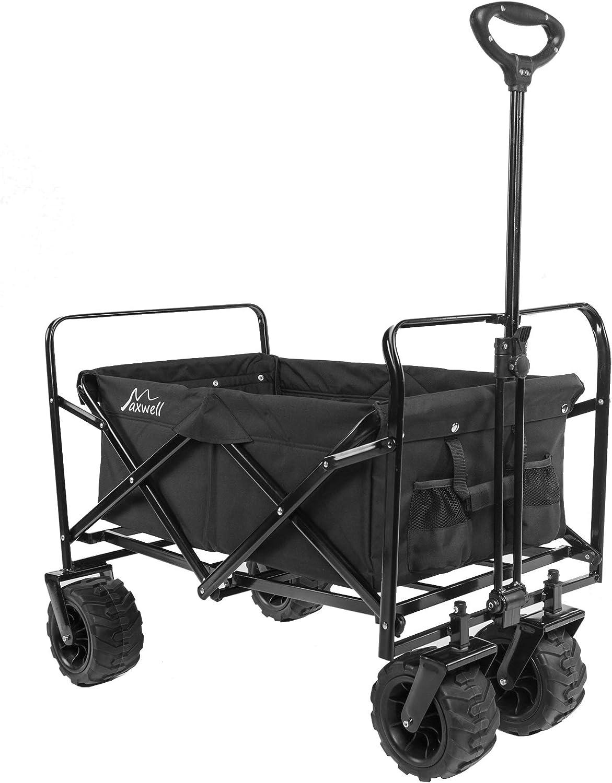 Maxwell Outdoor Heavy Duty Collapsible Folding All Terrain Utility Beach Wagon Black