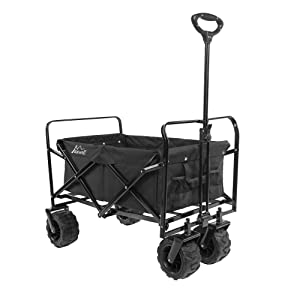 Maxwell Outdoor Heavy Duty Collapsible Folding All Terrain Utility Beach Wagon (Black)