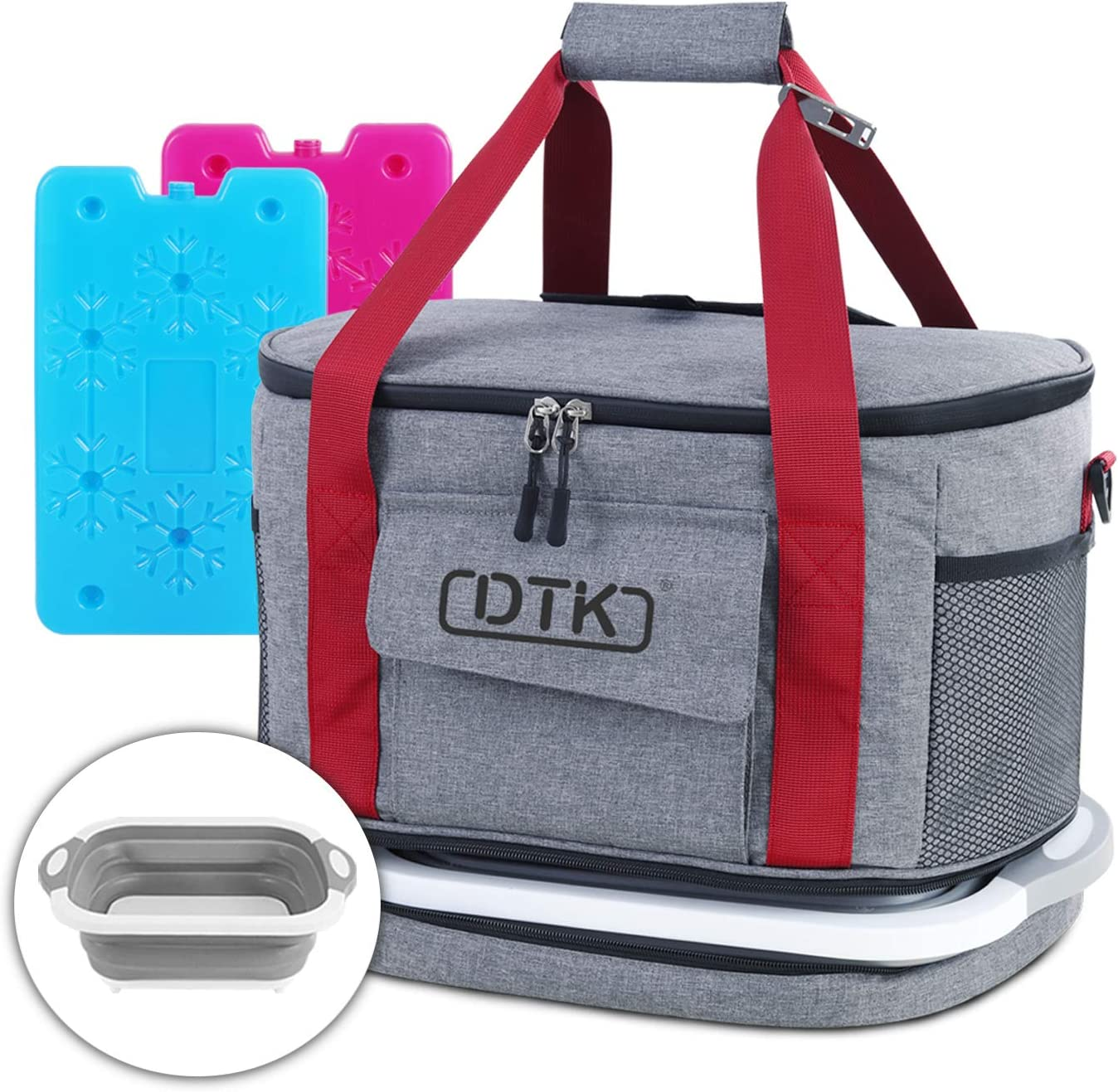 DTK Soft Cooler Bag with Collapsible Cutting Board, Insulated Leakproof Portable Cooler Tote, 45Can/30L Large Soft Sided Collapsible Camping Cooler with 2 Ice Pack for Picnic Beach Travel BBQ