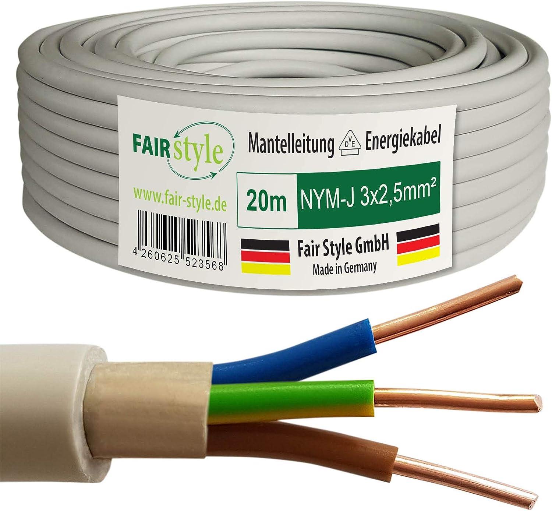 Fair Style NYM-J 20 m, 3 x 2,5 mm/², cobre, fabricado en Alemania Cable el/éctrico